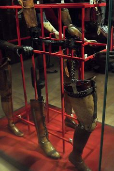 Artificial limbs at the Wellcome Collection in London.