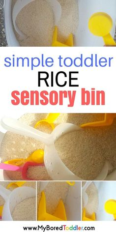 Simple rice sensory bin or sensory play activity for toddlers and preschoolers. A great fine motor sensory play activity.