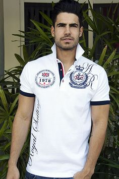 ROYAL White Polo Rugby Shirt, Mens Polo T Shirts, Polo Tees, Tee Shirts, T Shirts For Women, Camisa Polo, Polo Fashion, Style Masculin, Shirt Print Design