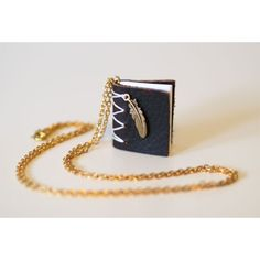 Written on the Wing. Leather Mini Book Necklace (£33) ❤ liked on Polyvore featuring jewelry, necklaces, leather necklace, feather jewelry, genuine leather necklace, wing necklace and leather jewelry