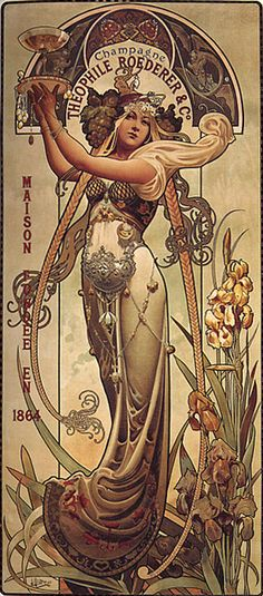 Art Nouveau advert for Roederer champagne. Louis-Théophile Hingre after the style of Alphonse Mucha, the originator of the Art Nouveau school of design Roederer Champagne, Alphonse Mucha Art, Mucha Artist, Art Nouveau Poster, Art Nouveau Illustration, Art Nouveau Mucha, Jugendstil Design, Urbane Kunst, Art Vintage