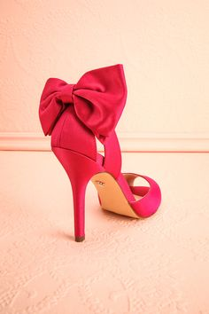 $135 | Mileena Berry Fuchsia Peep-toe Heeled Sandals | Boudoir 1861