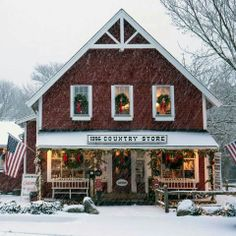 Country store at Christmas~.... I miss shopping these little shops at Christmas time and the snow making it feel like Christmas.  (I live in Florida now.)
