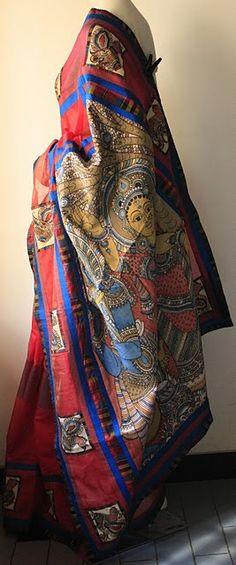Maroon and Blue Kalamkari Saree Ethnic Sarees, Indian Sarees, Traditional Sarees, Traditional Dresses, Indian Attire, Indian Wear, Ethnic Fashion, Asian Fashion, Indian Dresses