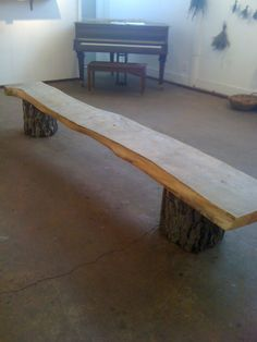 natural wood bench