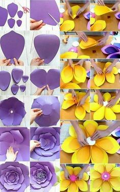 Tissue Paper Flowers Paper Roses Felt Flowers Giant Paper Flowers Diy Flowers Fabric Flowers White And Blue Flowers Origami Blume Flower Template Paper Flowers Craft, Large Paper Flowers, Paper Flower Backdrop, Giant Paper Flowers, Paper Roses, Flower Crafts, Diy Flowers, How To Make Paper Flowers, Tropical Flowers