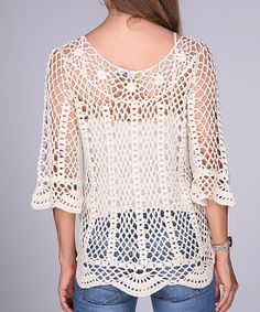 Beige Crocheted Scallop Three-Quarter Sleeve Top | zulily