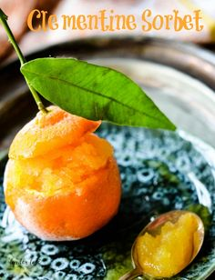 A super easy and quick recipe for clementine sorbet, the perfectly festive chilly dessert from larder love