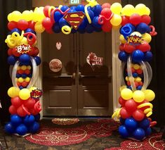 Super Hero Balloon Arch – Balloon Creations By Carolyn Bam! The balloons on these arches are air-filled so this arch will last for one week indoors. Pastel Balloons, Mini Balloons, Custom Balloons, Superhero Balloons, Halloween Balloons, Superhero Party, Graduation Balloons, Birthday Balloons, Balloon Decorations Party
