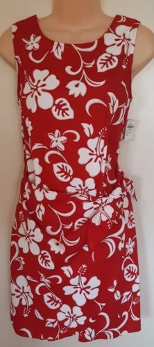cf8931809b7 Maui Clothing Co NWT Red White Hibiscus Hawaiian Short Dress Sleeveless  Sorong L