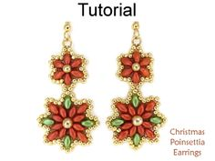Beaded SuperDuo Christmas Poinsettia Earrings Christmas Holiday Beading Pattern Tutorial by Lane Landry with Simple Bead Patterns   Simple Bead Patterns