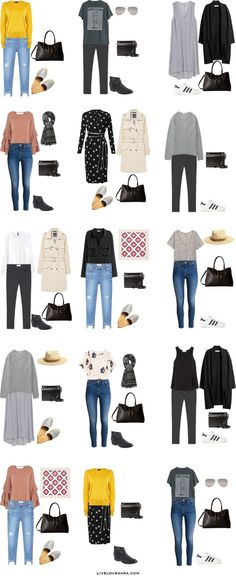 What to Wear in the UK and France Outfit Options 16-30 Packing Light List #packinglist #packinglight #travellight #travel #livelovesara