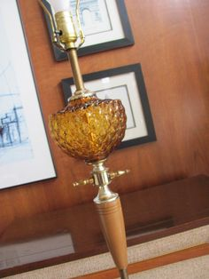 Vintage Table Lamp Amber Yellow Glass Globe Antique Brass