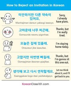 How to reject an invitation in Korean 🙅 Our PDF lessons are a great way to help you master survival Korean. Korean Slang, Korean Phrases, Korean Words Learning, Korean Language Learning, Learning Arabic, Swedish Language, Japanese Language, Italian Language, German Language