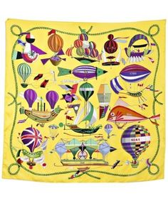Hermes Les Folies Du Ciel - Scarf as whimsical art on wall