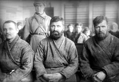 """Trial of so-called """"rich peasants"""" in 1929. Stalin's drive to seize all private land in the 1920s and 1930s met significant resistance. Some victims were shot, some were arrested and sent into the Gulag camps, and many were exiled to remote parts of the country. Courtesy of the Central Russian State Film and Video Archive."""