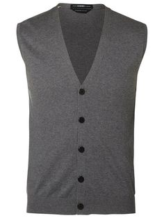 GESTRICKTE WESTE, Medium Grey Melange The Selection, Buttons, Medium, Knitting, Grey, Sweaters, Fashion, Vest, Breien
