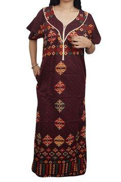 Indiatrendzs Women Nighty Cotton Printed Maroon Sleepwear Maxi Night Wear  48  37d053307