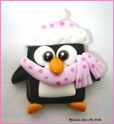 Polymer Clay Charm Pendant Winter Penguin in por michellesclaybeads