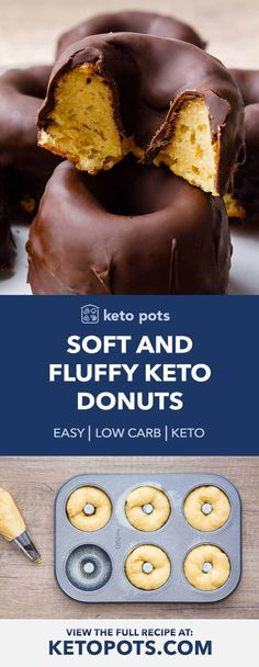 Soft and Fluffy Keto Donuts (with Chocolate Glaze) - Keto Pots Low Carb Donut, Low Carb Sweets, Low Carb Desserts, Low Carb Keto, Low Carb Recipes, Healthy Recipes, Diabetic Desserts, Protein Recipes, Smoothie Recipes