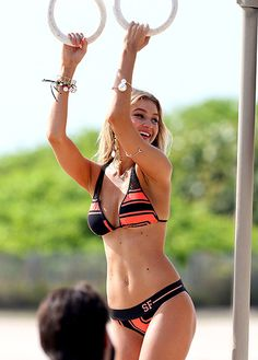 Gigi Hadid — one of Real Housewives of Beverly Hills star Yolanda Foster's two supermodel daughters — showed off her goods during a photo shoot at Miami Beach in Florida April 23.