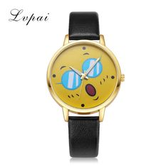 LVPAI New Brand Women Bracelet Watch Gold Lovely Leather Quartz WristWatches Fashion Casual Women Dress Watches Ladies Clock
