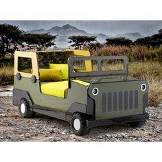 Lit 4x4 militaire 90x190cm bois laqué vert/jaune + roue en polypropylène JOE port offert