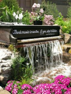 Sharing again ~ Piano waterfall ~ gorgeous use for a piano that can't be fixed ~   I'm in love with this!!!  <3