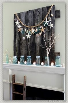 House Revivals: 10 Pretty Seashell Projects! Love this one with turquoise, reclaimed wood and starfish!!