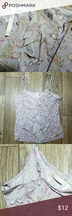 LC Lauren Conrad girly ruffled spaghetti strap LC Lauren Conrad girly lipstick heels sunglasses print spaghetti strap ruffled top blouse. Size Large in excellent condition. Please leave a comment if you have any questions. LC Lauren Conrad  Tops Camisoles
