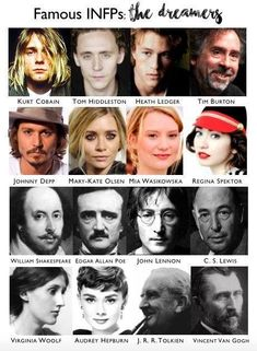 INFP's interesting cast of characters. Famous INFPs: the dreamers Famous INFPs chart INFP celebrity chart Infp Personality Type, Myers Briggs Personality Types, Infj Infp, Enfj, Personalidade Infp, Pseudo Science, Myers Briggs Personalities, 16 Personalities, Enneagram Types