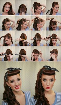 Vintage Hairstyles Tutorial Pinup hairstyle and retool pin up makeup Retro Hairstyles, Scarf Hairstyles, Girl Hairstyles, Updos Hairstyle, 1950s Hairstyles For Long Hair, Makeup Hairstyle, Simple Hairstyles, 50s Hair And Makeup, Hairstyle Ideas