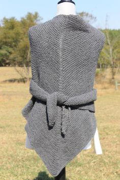 Hand knit shawl shawlette simple and rustic triangle by FARMSPUN