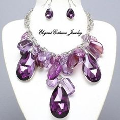 Purple Ice Cascade Chunky Necklace & Earrings Set Elegant Costume Jewelry [598-PUR] - $24.99 :: Elegant Costume Jewelry