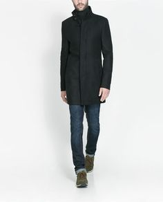 Image 4 of COAT WITH KNITTED COLLAR from Zara