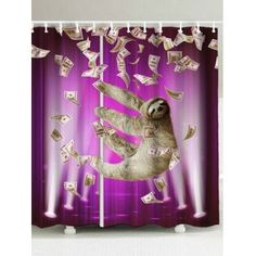 High Quality Waterproof Funny Sloth And Dollars Shower Curtain