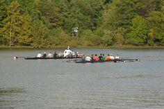 Haddonfield rowers near Burlington Island.