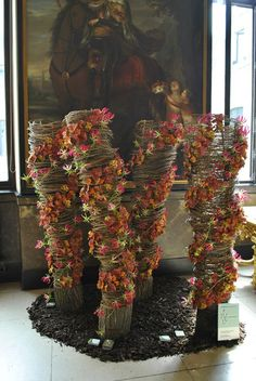Tactical display, amazing floral display. (Artist Jolien Vanderstappen). Adorn a designated object and DIY with natural elements! Use your imagination or we'll loan you ours. Group, party, meeting, wedding planner PJ@wildsidedestinations.com #alltravelersallowed #allgroupsallowed