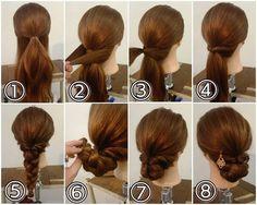 シニヨンアレンジ ① 耳の高さから上の髪をハーフアップに結びます。 ② 残っている髪を左右からとり… ③ 後ろで結びます。 ④ それをくるりんぱします。 ⑤ 出来た毛束を三つ編みにします。毛先は折り返してゴムで結んでおきます。 ⑥ 三つ編みをお団子にまとめて… ⑦ ピンで留めます。 ⑧ かたちを整えたら出来上がりです! 簡単シニヨンなので浴衣ヘアのセルフアレンジに! #横浜美容室#ヘアサロン#ヘアエステ#美容室#ヘアアレンジ#ヘアアレンジ解説#ヘアアレンジプロセス#簡単アレンジ#まとめ髪#ヘアスタイル#アンティーク#アップアレンジ#くるりんぱ#三つ編み#浴衣ヘア#浴衣ヘアアレンジ#横浜#石川町#元町#nest
