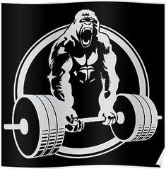 'Gorilla Gym' Poster by Carl Huber Crossfit Logo, Gym Logo, King Kong, Weightlifting Shirts, Funny Gym Shirts, Gym Design, Design Shop, Weight Lifting, Weight Loss