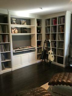 Music room. Simon designed custom unit for his retro London DJ decks and record collection.