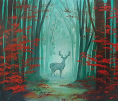 Easy Beginner Autumn Forest Landscape with Deer Silhouette Acrylic Painting Tutorial by Angela Anderson on YouTube #forest #painting #acryliconcanvas #art #deer #silhouette #landscape #autumn