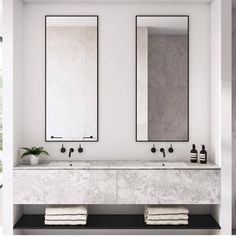 Dreaming of a luxurious or designer bathroom? We've gathered together lots of gorgeous bathroom a few ideas for small or large budgets, including baths, showers, sinks and basins, plus master bathroom decor suggestions. Minimalist Bathroom Design, Modern Bathroom Design, Bathroom Interior Design, Modern Bathrooms, Bathroom Designs, Beautiful Bathrooms, Minimalist Bathroom Inspiration, Minimal Bathroom, Double Sink Bathroom