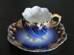 4:00 Tea...Limoges...Fabulous Cobalt and Gold Gilt demitasse cup and saucer, France 1890-1914