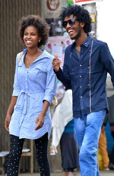 Afrikanische, Glücklich, Paar, Lächelnd, Afro