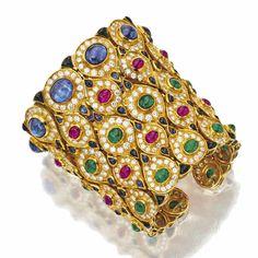 Gold, diamond and colored stone cuff bracelet