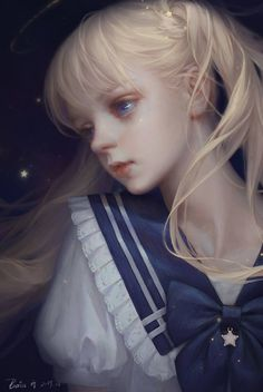 Anime Art Girl, Manga Girl, Pretty Art, Cute Art, Fille Blonde Anime, Portrait Art, Portraits, Poses References, Digital Art Tutorial