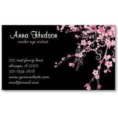 Cherry Blossom Pink, Black Business Cards