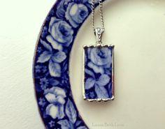 Broken china necklace pendant Antique flow blue rose broken china jewelry
