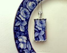 Broken china necklace pendant Antique flow blue rose broken china jewelry